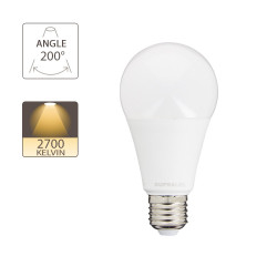LED bulb (A60), E27 base, conso. 14.2W (eq. 100W), 1521 lumen, warm white