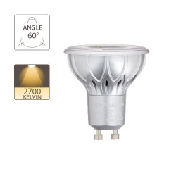 LED bulb (Spot), GU10 base, conso. 4.8W (eq. 35W), 230 lumen, warm white