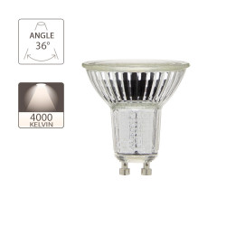 LED bulb (Spot), GU10 base, 5.5W consumer (50W eq.), 345 lumen, neutral white