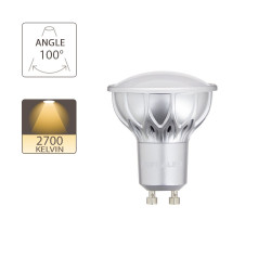 LED bulb (Spot), GU10 base, conso. 4.2W (eq. 25W), 280 lumen, warm white