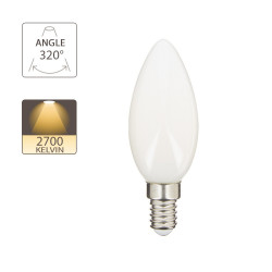 LED bulb (Flame), E14 base, conso. 4W (eq. 40W), 470 lumens, warm white