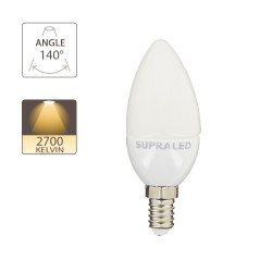 LED bulb (Flame), E14 base, conso. 3W (eq. 25W), 250 lumens, warm white