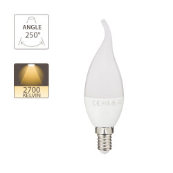 LED bulb (Flamme Coup de vent), E14 base, 5.3W (eq. 40W), 470 lumen, warm white