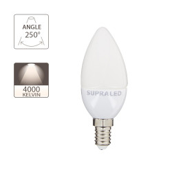 LED light bulb (Flame), E14 base, 6W (eq. 40W), 470 lumen, neutral white