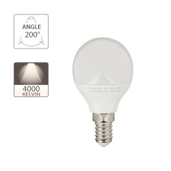 LED bulb (P45), E14 base, 5.3W consumer (40W eq.), 470 lumen, neutral white