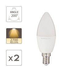 Pack of 2 LED Bulbs (Flame), E14 base, conso. 2.8W (eq. 25W), 250 lumens, warm white