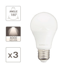 Pack of 3 LED bulbs (A60), E27 base, 9W consumption (eq. 60W), 806 lumens, neutral white