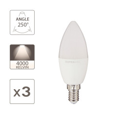 Pack of 3 LED Bulbs (Flame), E14 base, 6W (eq. 40W), 470 lumens, neutral white