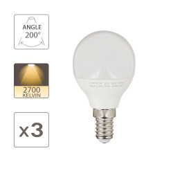 Pack of 3 LED bulbs (P45), E14 base, 5.3W (eq. 40W), 470 lumens, warm white