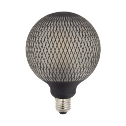 Ampoule Déco LED Filament, Aspect Filet Noir, G125, culot E27, 4W cons. 2700K Blanc Chaud