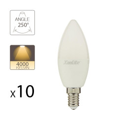 Lot de 10 Ampoules LED Flamme, culot E14, 5,3W cons. (40W eq.), lumière Blanc Neutre