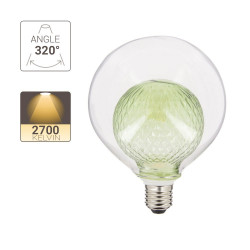 LED decoration light bulb, Green double glass, G125, E27 base, 4W cons. 2700K Warm White