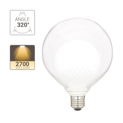 LED decoration light bulb, Double White glass, G125, E27 base, 4W cons. 2700K Warm White