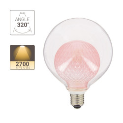 LED decorative bulb, Pink double glass, G125, E27 base, 4W cons. 2700K Warm White