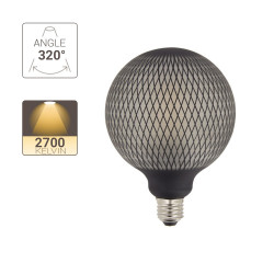 LED Deco Filament Bulb, Black Net Appearance, G125, E27 base, 4W cons. 2700K Warm White
