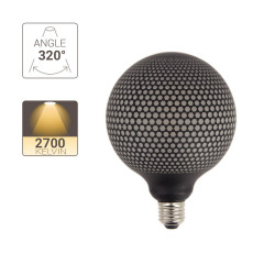 Deco LED Filament Bulb, Black Dot Appearance, G125, E27 base, 4W cons. 2700K Warm White