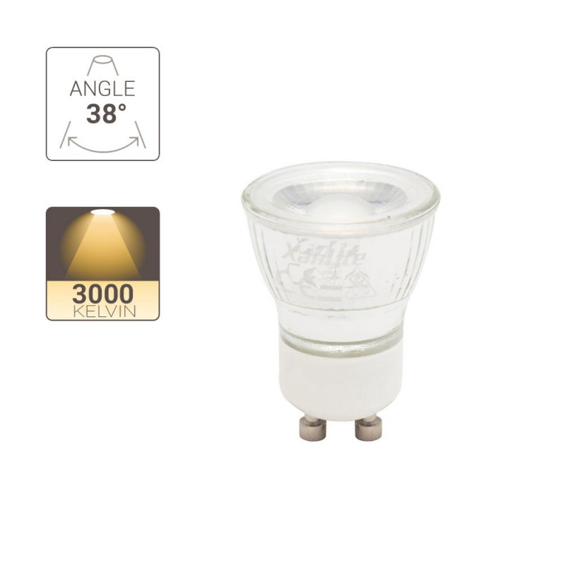 LED spot bulbs, GU11 base, 3.8W cons. (30W eq.), warm white light