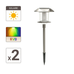 Set of 2 solar powered light posts 10 LEDs