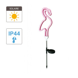 "Neon post ""Flamant Rose"" solar LED, Pink colour, IP44 - Outdoor special"