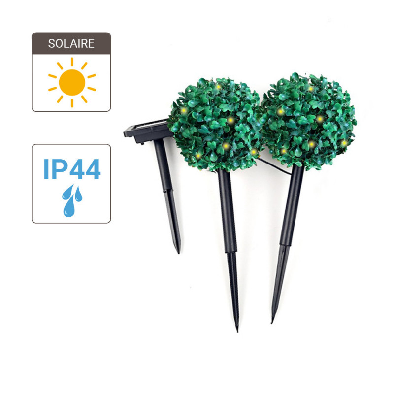 Set of 2 Solar LED Boxwood Posts, Warm White, IP44 - Outdoor special