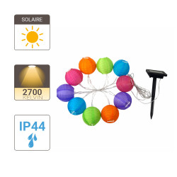 Solar LED garland with 10 multicoloured balls, length 5m, Warm white, IP44 - Outdoor Special