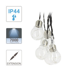 Extension Guirlande LED Blanc Froid, x10 ampoules, 3m, Transfo non Inclus