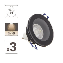 Lot 3 Spots GU10 50W 4000K Rond Noir IP44
