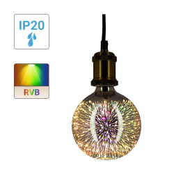 3D LED decorative bulb (G125), Fireworks look, E27 base, 3.8W cons.