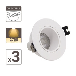 Lot 3 Spots GU10 50W 2700K Rond orientable Blanc IP20