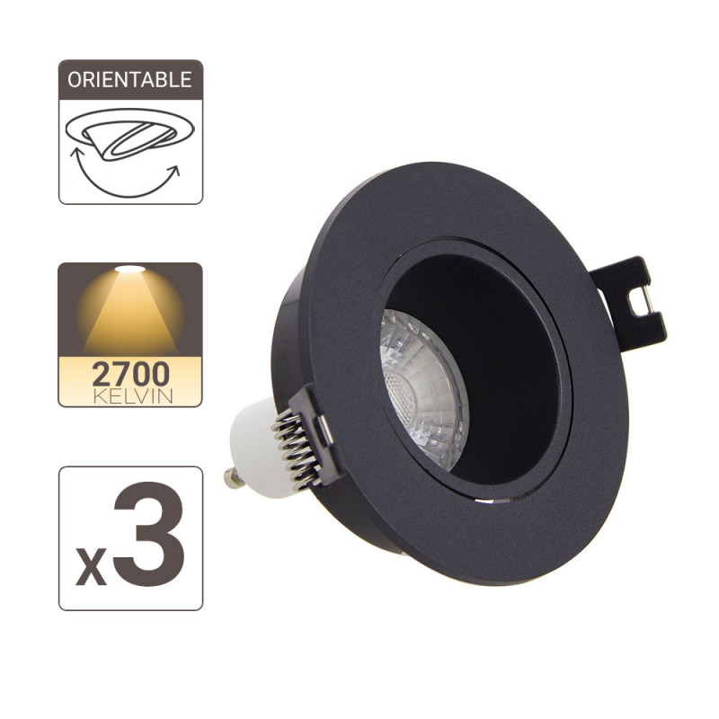 Lot 3 Spots GU10 50W 2700K Rond orientable Noir IP20