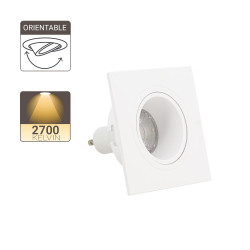 Spot GU10 50W 2700K Carré orientable Blanc IP20