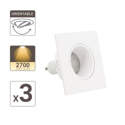 Lot 3 Spots GU10 50W 2700K Carré orientable Blanc IP20