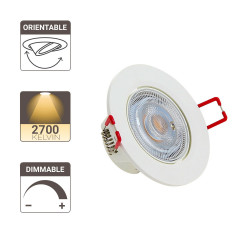 Lot de 3 spots à LED intégrés Orientables - dimmable