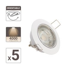 Set of 5 flush fitted spotlights - neutral light - LED GU10 light bulbs included