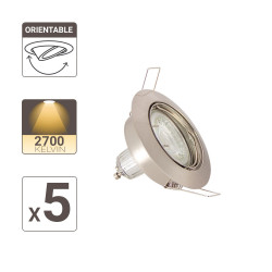 Set of 5 flush fitted spotlights - warm light - LED GU10 light bulbs included