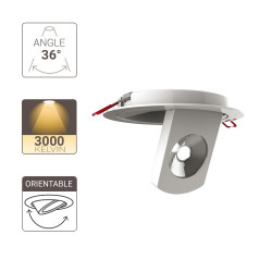 Flush fitted LED spotlight - 700 lumens - adjustable