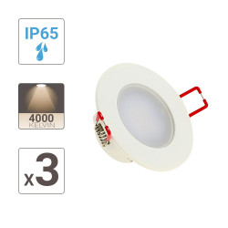 Set of 3 integrated LED spotlights - 345 lumens - special bathroom