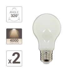 Pack of 2 LED bulbs (A60), E27 base, consumer 8W (eq. 75W), 1055 lumens, neutral white